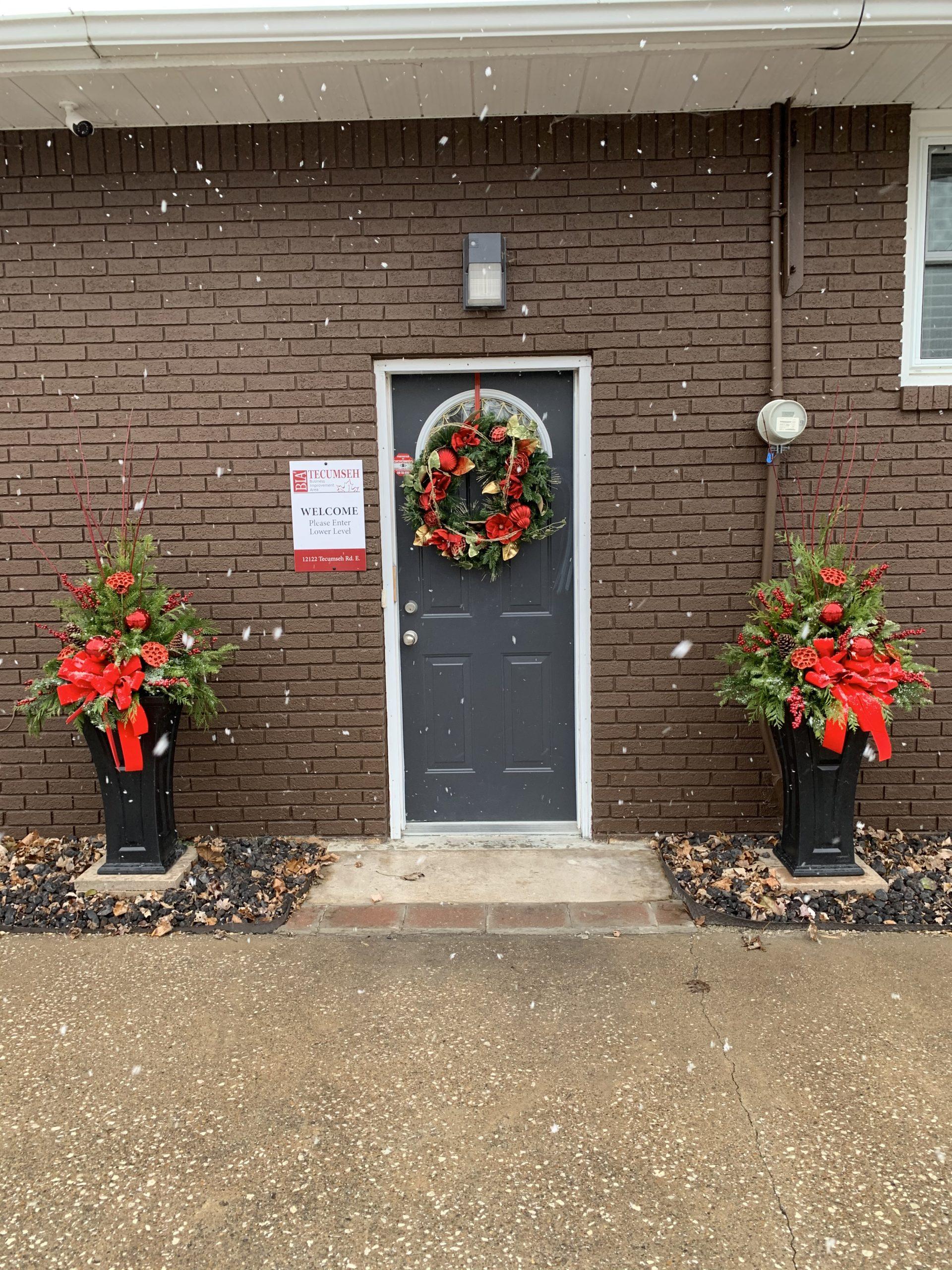 BIA office door at Christmas
