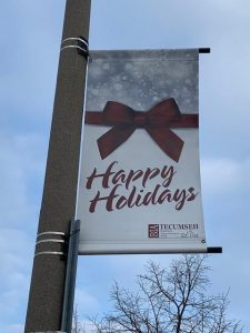 Happy Holidays BIA street pole banner