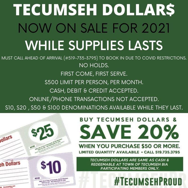 Tecumseh Dollar Sales- 2021