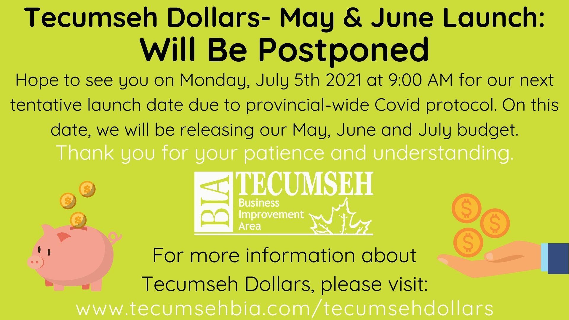 Tecumseh Dollars- Postponed for May & June 2021