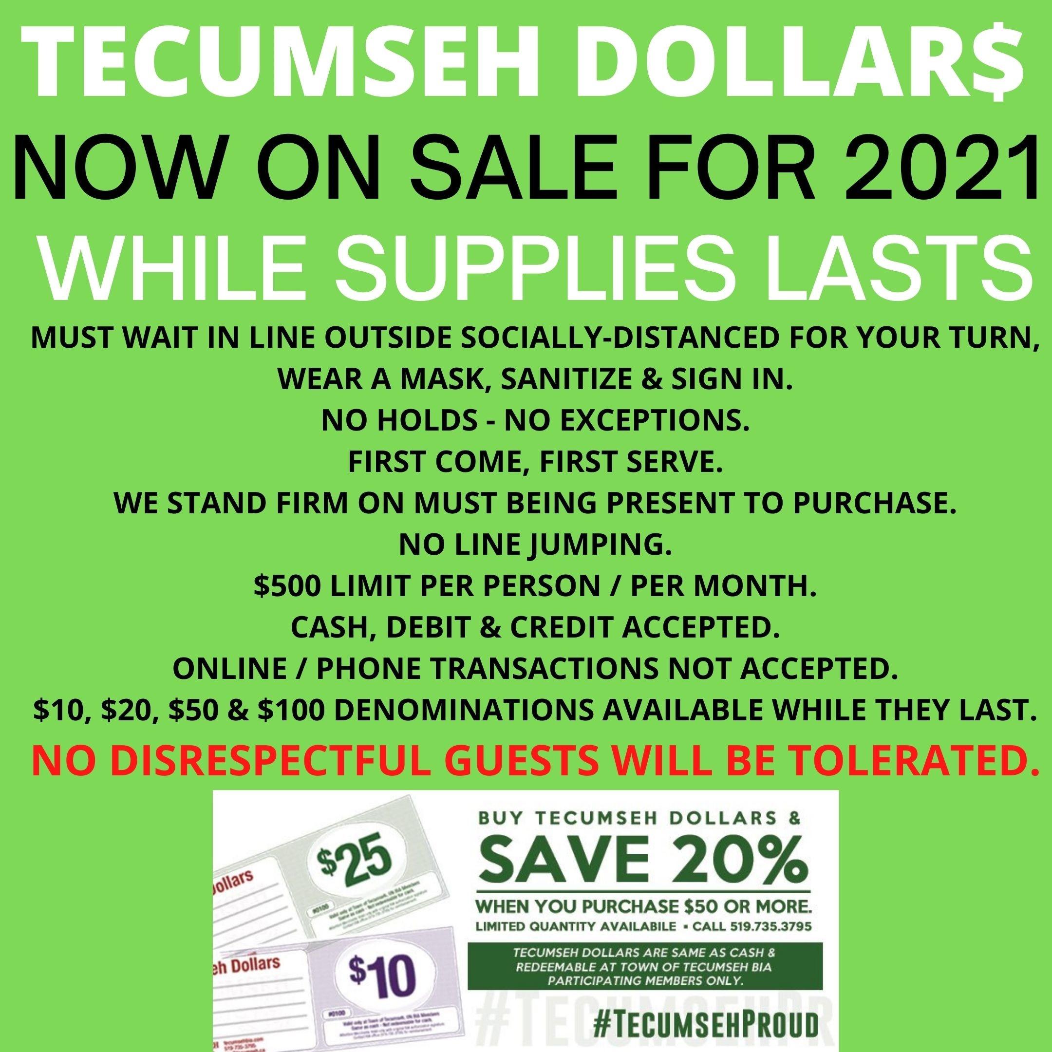 Tecumseh Dollars Ad- 2021